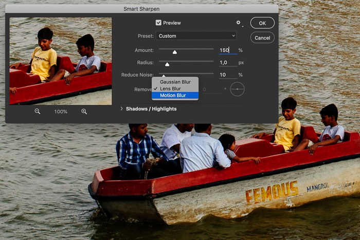 Screenshot of editing a picture in Photoshop showing a row boat in India