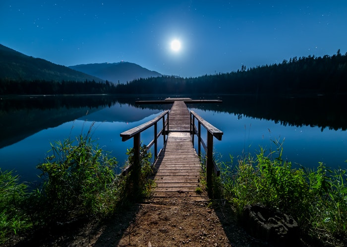 Serene night photography of mountains and lake