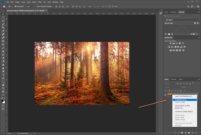A screenshot of how to apply the orton effect to landscape photography on Photoshop
