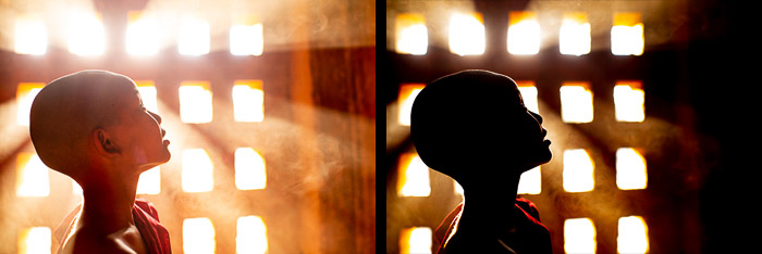 A diptych portrait of a novice monk demonstrating overexposure vs underexposure in photography