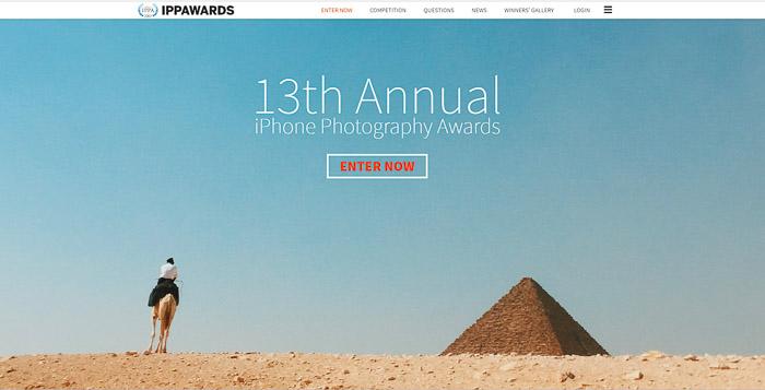 Uma captura de tela do site do iPhone Photography Awards - concursos de fotografia