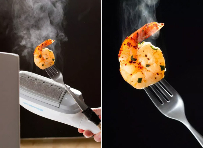 A diptych food photography shot showing how to add steam to food images with diy photography hacks