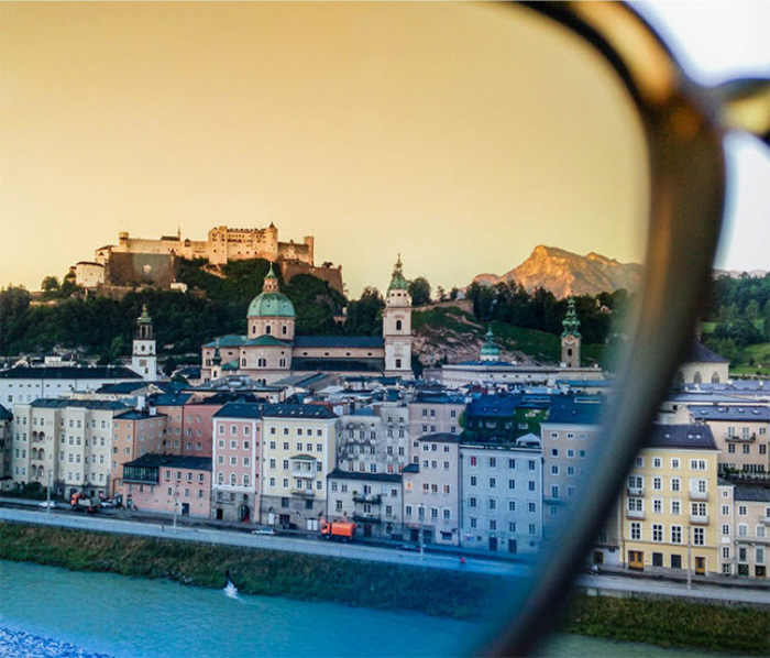 A beautiful coastal cityscape shot using sunglasses as a filter