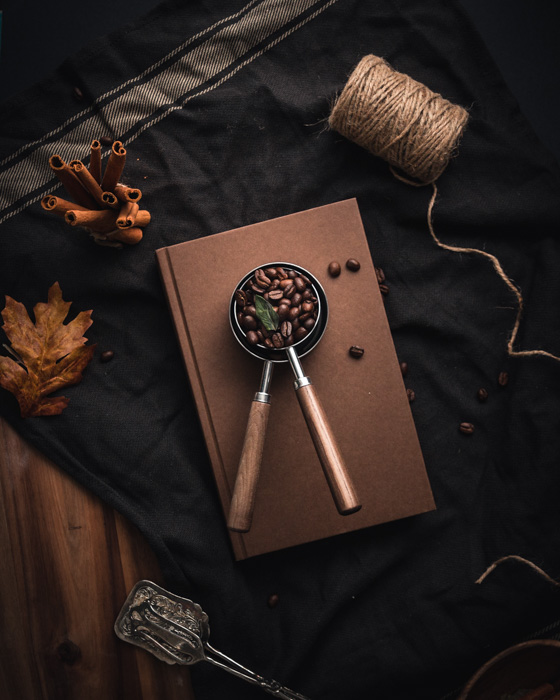 A rustic coffee photography still life