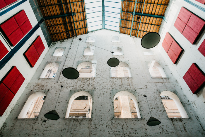 The interior of an interesting architectural building