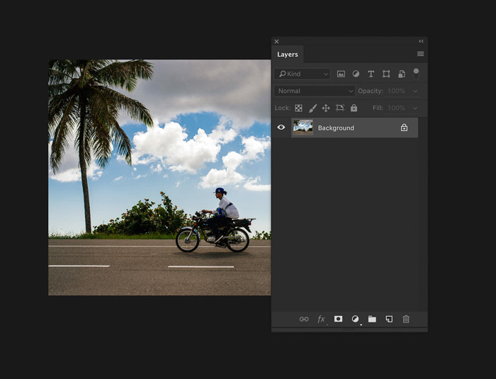 A screenshot showing how to add a layer in Photoshop - open a photo