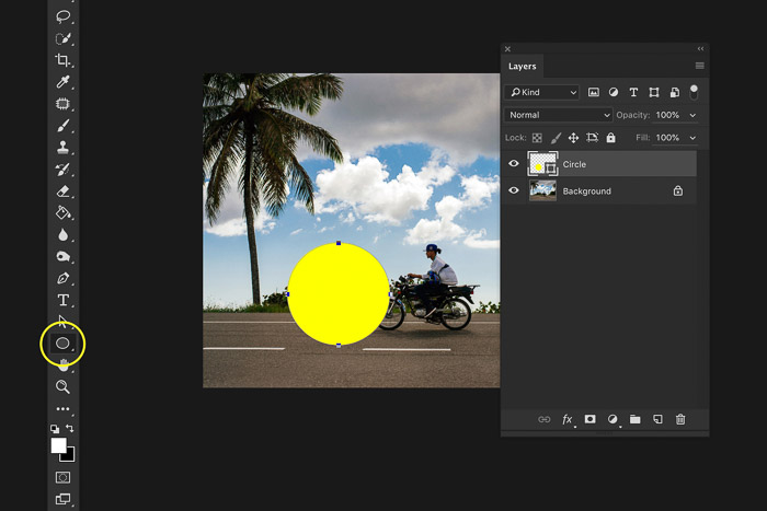 A screenshot showing how to add a layer in Photoshop - add an layer