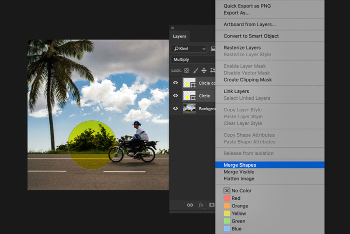 A screenshot of using the Photoshop layers panel - merge layers