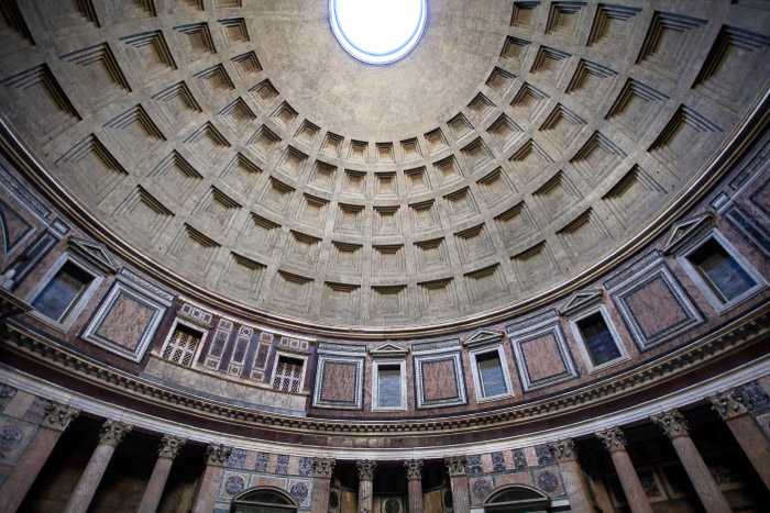 the interesting architecture of the roof from the interior of the pantheon - rome photography spots