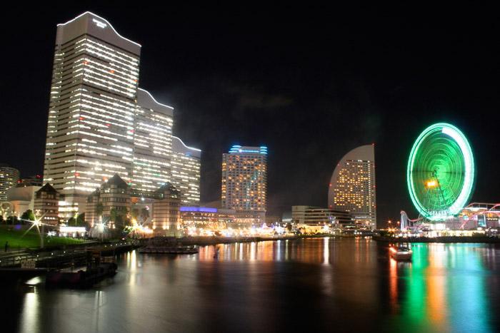 The waterfront area of Yokohama at night