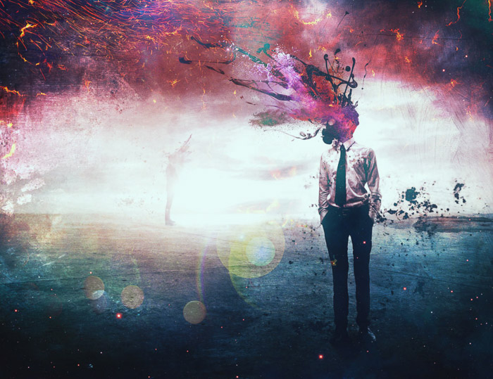 A colorful surreal portrait of a male model with exploding colors for a head - portrait photography types