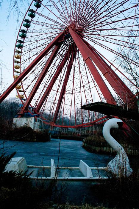 An abandoned ferris wheel shot during an urban exploration trip