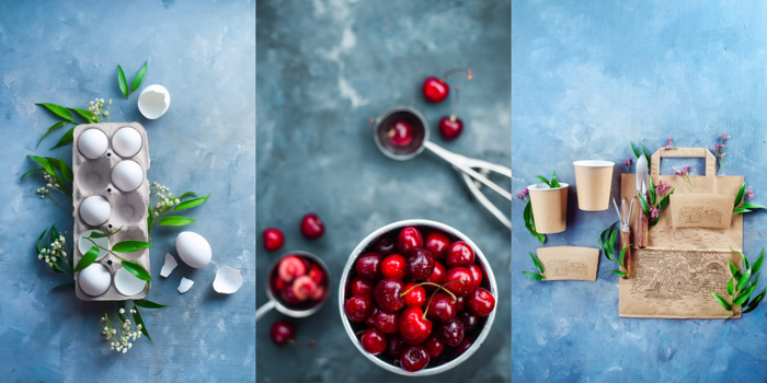 A creative food photography diptych on a hand painted background