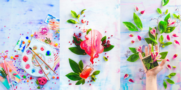 A creative still life photography triptych on hand painted background