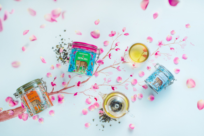 Bright and airy product photography flat lay of flower petals and cosmetic products on a hand painted background