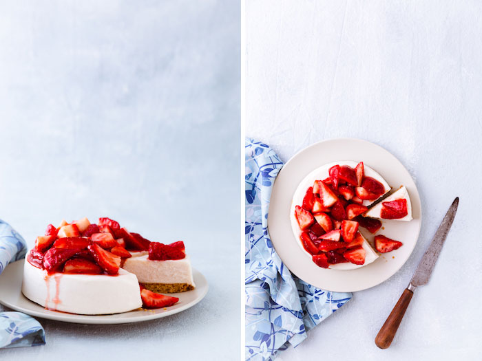 Bright and airy cake photo diptych