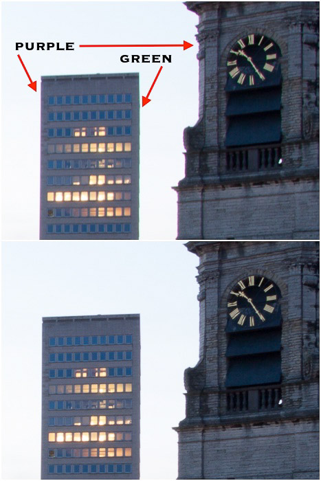 A diptych of architectural photography featuring incidences of chromatic aberration