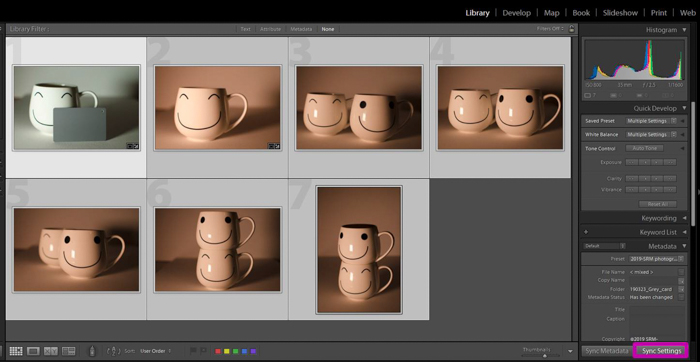 A screenshot showing how to use a grey card for color correction in Lightroom - sync settings