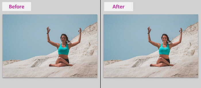 A screenshot showing how to remove Local Shadows With Lightroom Basic Tools - before and after photo of a female model on a beach