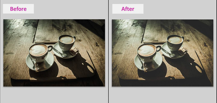 A Lightroom screenshot showing how to make blacks matte to give Images a faded look - before and after result