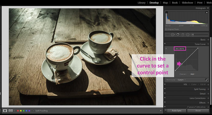 A Lightroom screenshot showing how to make blacks matte to give Images a faded look - control point