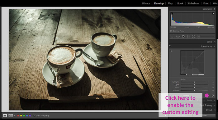 A Lightroom screenshot showing how to make blacks matte to give Images a faded look - custom editing