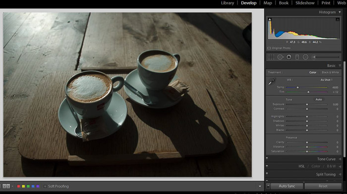 A Lightroom screenshot showing how to make blacks matte to give Images a Faded Look