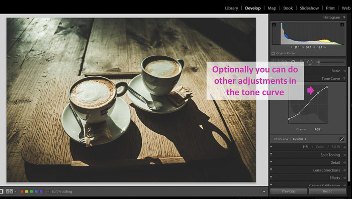 A Lightroom screenshot showing how to make blacks matte to give Images a faded look - Lightroom shadows and blacks
