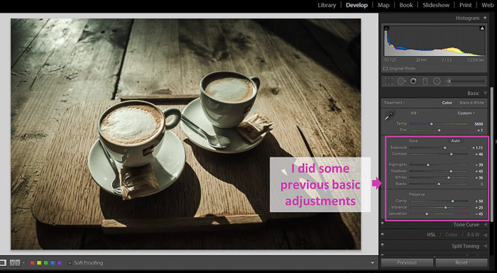 A Lightroom screenshot showing how to make blacks matte to give Images a Faded Look - previous adjustments
