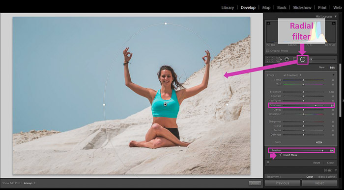 A screenshot showing how to remove Local Shadows With Lightroom Basic Tools