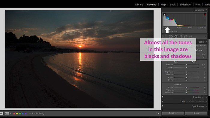 A screenshot of working with shadows and blacks in Lightroom