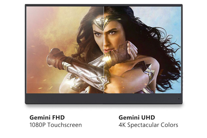 a split screen comparison of Gemini FHD 1080P Touchscreen and Gemini UHD 4k spectacular colors - best portable monitor