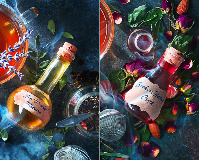 A still life diptych of magical potions - examples of using text in photography