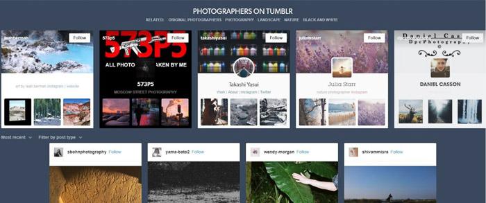 A screenshot of Tumblr homepage