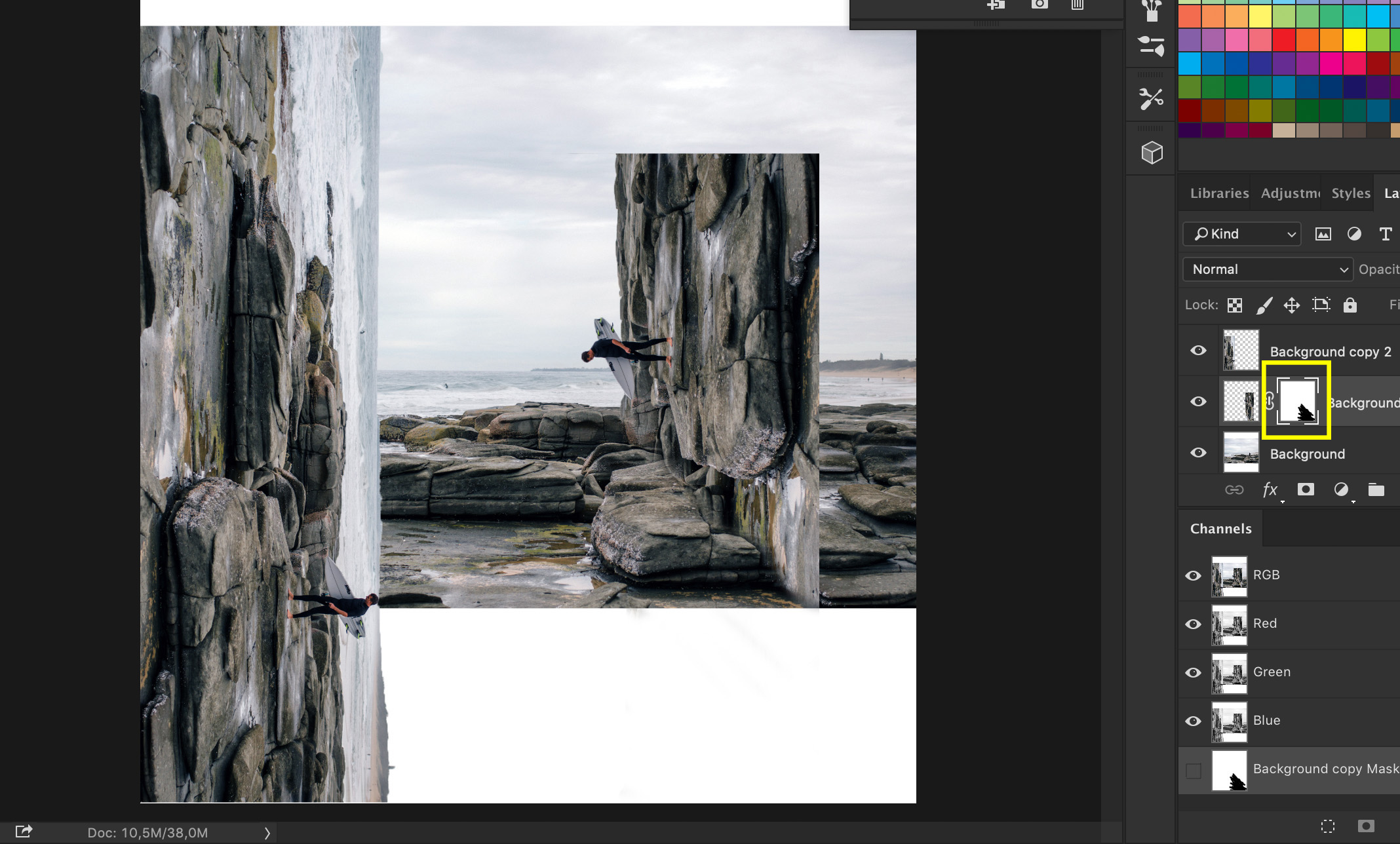 A screenshot showing how to Do a Bend and Warp Trick in Photoshop - painting the photo