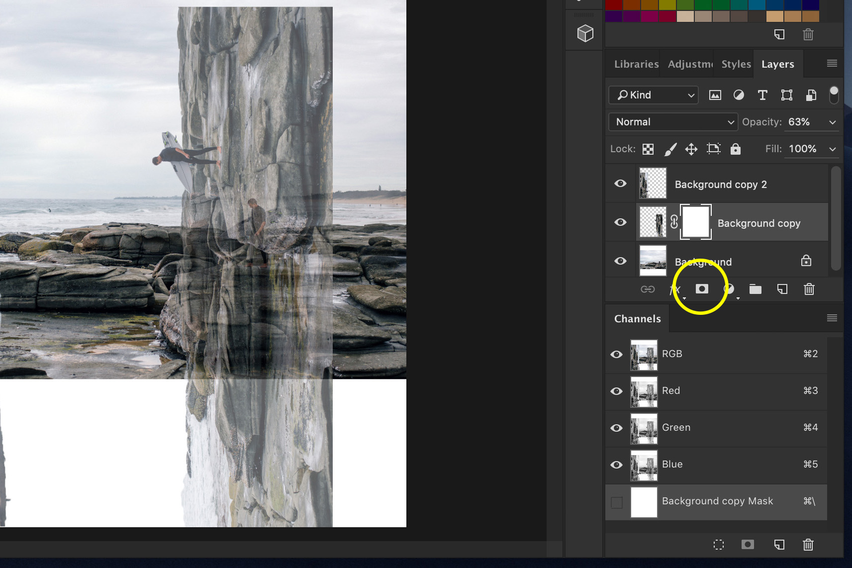 A screenshot showing how to Do a Bend and Warp Trick in Photoshop - creating corners