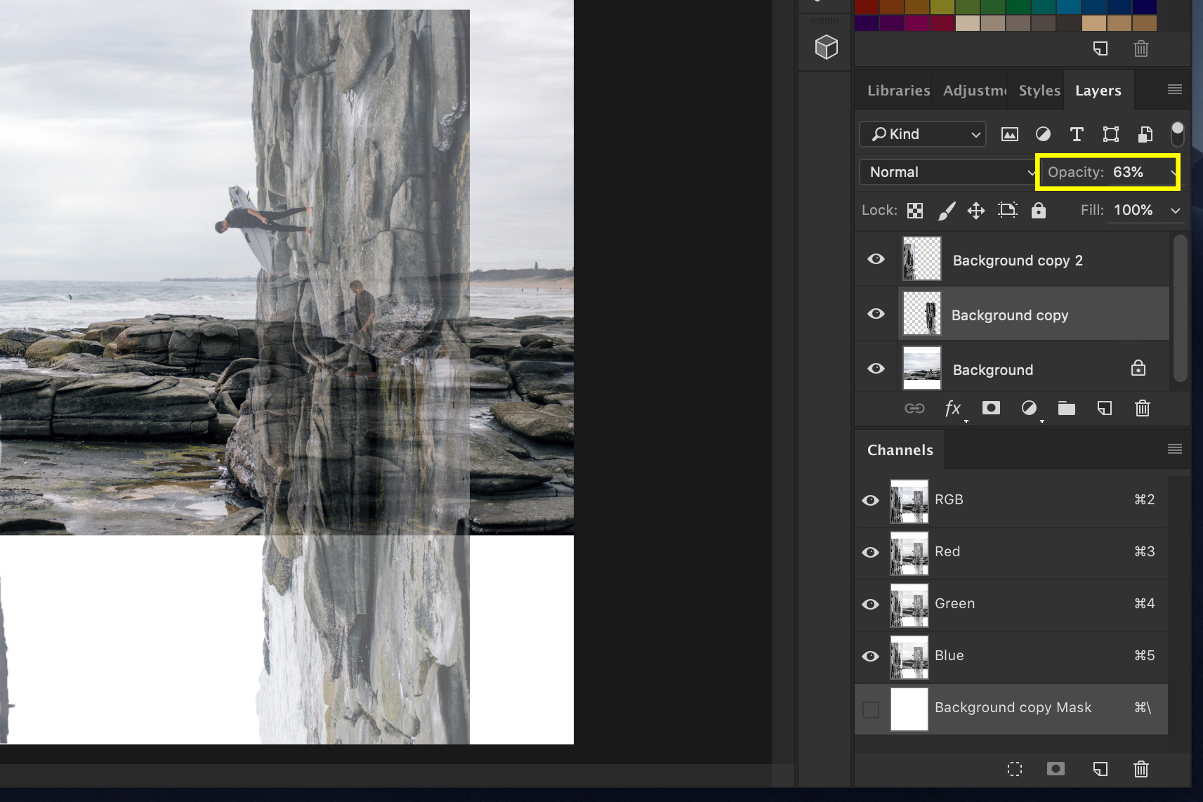 A screenshot showing how to Do a Bend and Warp Trick in Photoshop - create the corners