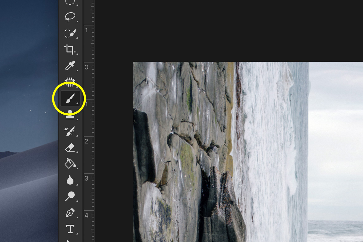 A screenshot showing how to Do a Bend and Warp Trick in Photoshop - select paint brush tool