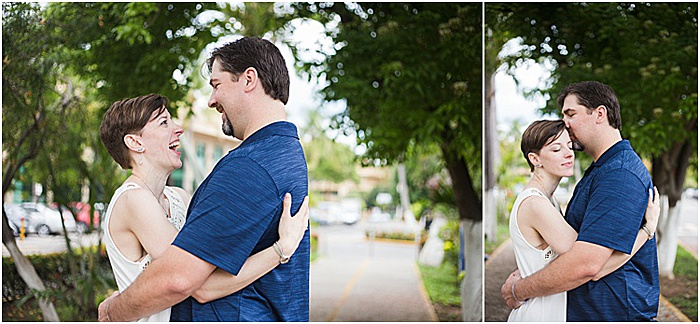 A romantic diptych portrait of a couple embracing and smiling outdoors