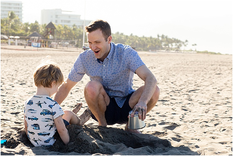 A sweet casual portrait of a father and son playing on the beach- emotional photography tips