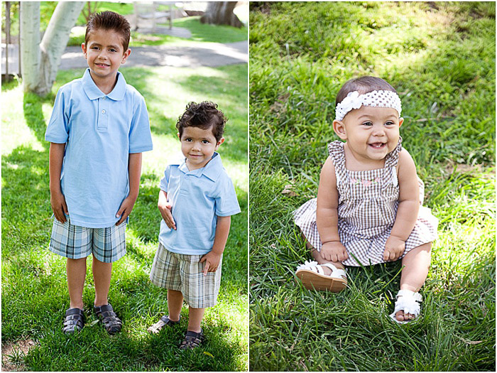 A diptych portrait of young children posing outdoors in dappled light