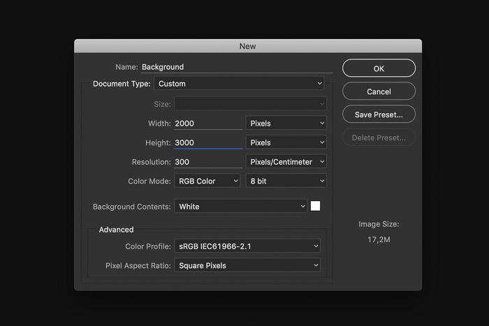 A screenshot showing how to create a Digital background in Photoshop - open a new file