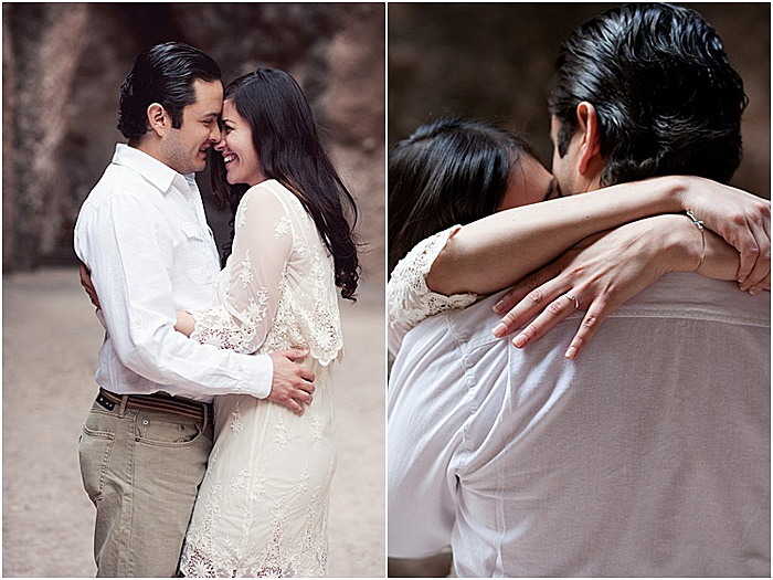 A romantic diptych portrait of a couple embracing and smiling