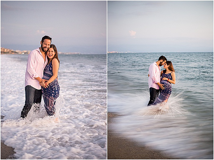 A diptych portrait of a couple smiling couple posing outdoors at the beach - emotional photography