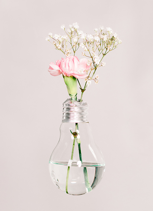 Dreamy fine art photography of flowers resting in a lightbulb
