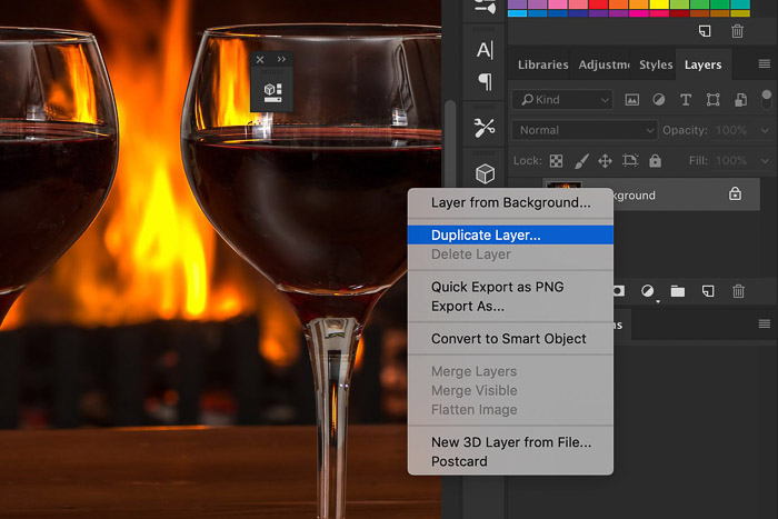 A screenshot of how to duplicate a layer in Photoshop - Gaussian blur Photoshop