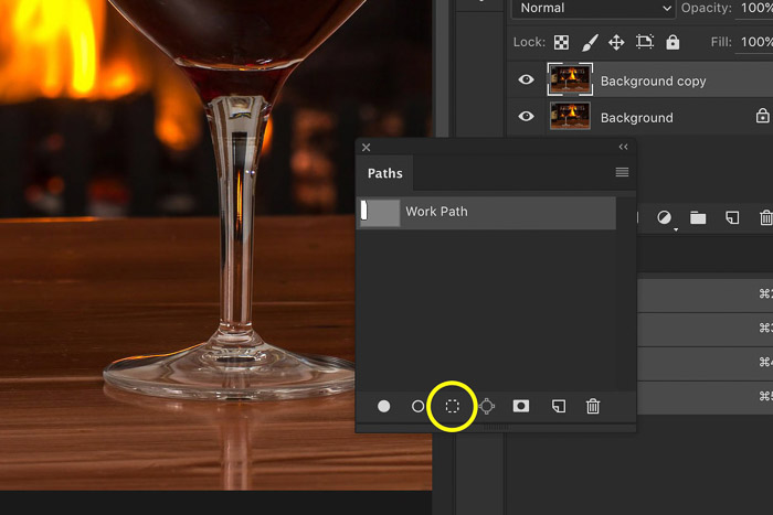 A screenshot showing how to use gaussian blur in Photoshop - Convert the Path to a Selection