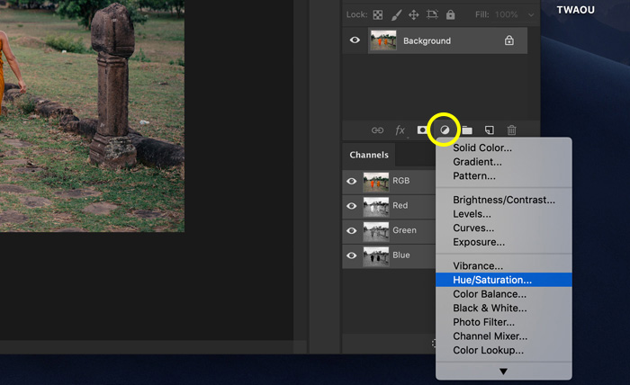 A screenshot showing how to use  hue/saturation to change color in Photoshop
