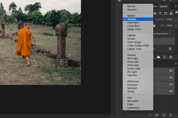 A screenshot showing how to change color in photoshop - multiply in blending mode