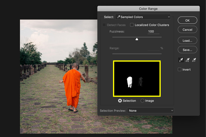 A screenshot showing how to use colour range to change the color of an object in photoshop